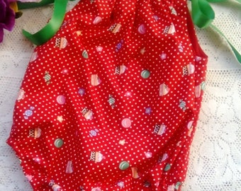 Bubble romper - cupcakes cakes print on red polka dot