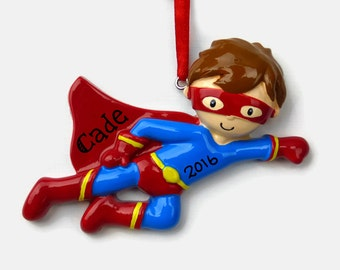 SHIPS FREE - Superhero Personalized Ornament - Super Hero - Hand Personalized Christmas Ornament