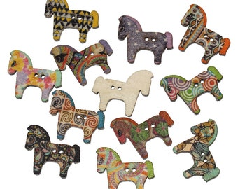 10/20/40 Multicoloured Horse Shaped 2 Holed Wood Sewing Buttons Scrapbooking, Craft, Card Making, Embellishments
