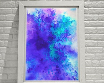 Abstract Art, Watercolor Print, Purple and Teal, Abstract Watercolor, Art Print, Canvas Print, Beach, Ocean, Nature inspired, Home Decor.,
