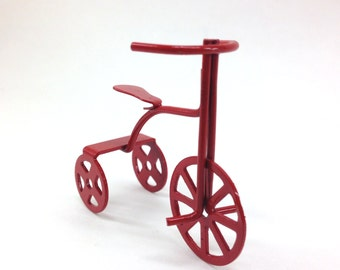 FREE SHIPPING! Miniature Red Tricycle Children's Bike for Dollhouse/Shadow Box Crafts