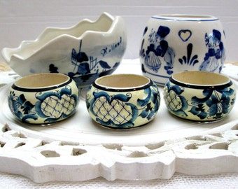 Two pieces of Delft handpainted in Holland, 3 napkin rings, Dutch bowls, blue and white accessories, Delft accessories, Dutch decor