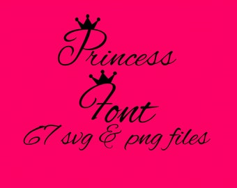 SVG Princess Font Alphabet Numbers Special Characters for Cutting Machines