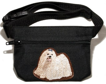 Embroidered dog treat waist bag. Breed - Maltese. For dog shows and training. Great gift for breed lovers.