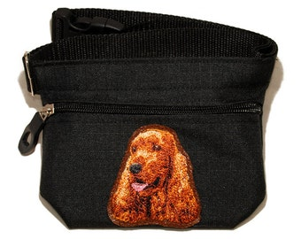 Embroidered dog treat waist bag. Breed - English Cocker Spaniel. For dog shows and training. Great gift for breed lovers.