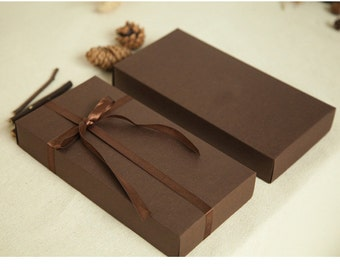 Set 15 Dark Brown Kraft Boxes / Long Rectangle Cardboard Box - DIY Craft Accessories Jewelry Scarf Packaging / Wedding Party Gift Boxes