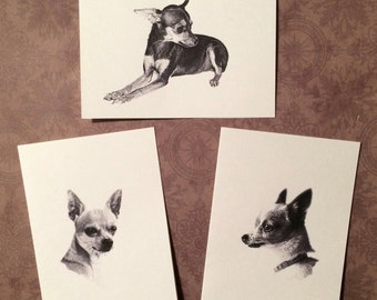 Set of 6 or 12 Handmade Blank Chihuahua Dog Print Note Cards