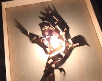 Silhouette Shadow Art.Bird shadow ,reclaimed wood art,wood sculpture,reclaimed wood wall art.Wall hanging art,sconces wood art,wood lamp