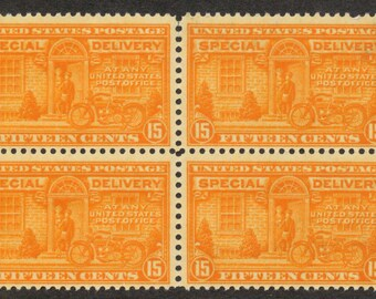 1925 Block of Four, US Special Delivery Stamps, Postal Motorcycle Delivery Sc # E16