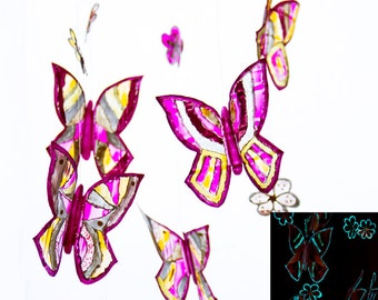 Baby mobiles hanging butterflies and flowers glowing in the dark, New baby gift, nursery ornament. Girl room, Stained glass violet decor