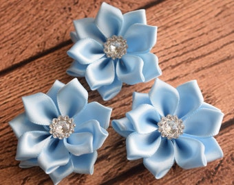 "Light Blue Satin Ribbon Flowers,1.7 "",Satin Flower, Fabric Flower,Headband Flower,Wholesale, You Choose color"