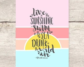 Summer Goals flat note card, Sunshine, Ralph Waldo Emerson quote