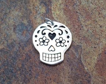 Sugar Skull Pendant, Sugar Skull Charm, Large Sugar Skull Charm, Silver Sugar Skull Charm, Mexican Sugar Skull, Silver Plated