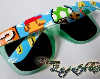 Super Mario pixel custom sunglasses wayfarers handpainted