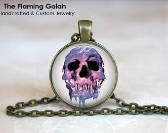 PURPLE MELTING SKULL Pendant •  Gothic Skull •  Pirate Skull •  Human Skull • Gift Under 20 • Made in Australia (P0535)