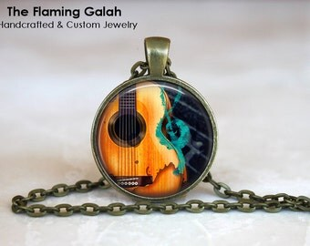 ACOUSTIC GUITAR Pendant. Bass Guitar. Electric Guitar. Musician Gift. Music Lover. Necklace Key Ring. Handmade in Australia (P1191)