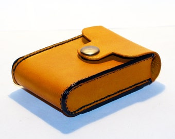 Credit Card Holder leather , Business Card Holder, Yellow Leather Credit Card Wallet, Yellow Card Holder. Great Gift.