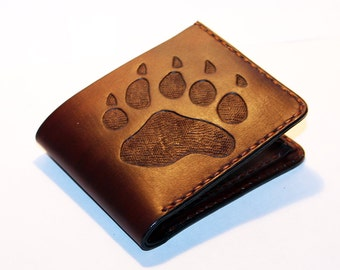 Leather wallet with bear track, brown wallet, great leather item, brown men's wallet, credit card wallet, gift for men.