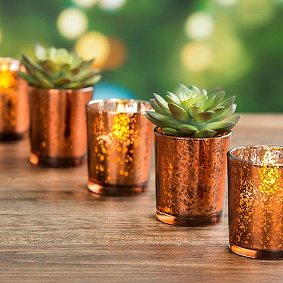 60 copper mercury glass votive candle holders bulk lot for. Black Bedroom Furniture Sets. Home Design Ideas