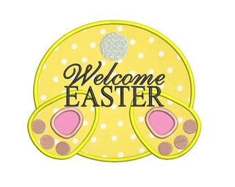 Welcome Easter Applique Machine Embroidery Digitized  Design Pattern - Instant Download - 4x4, 5x7, 6x10
