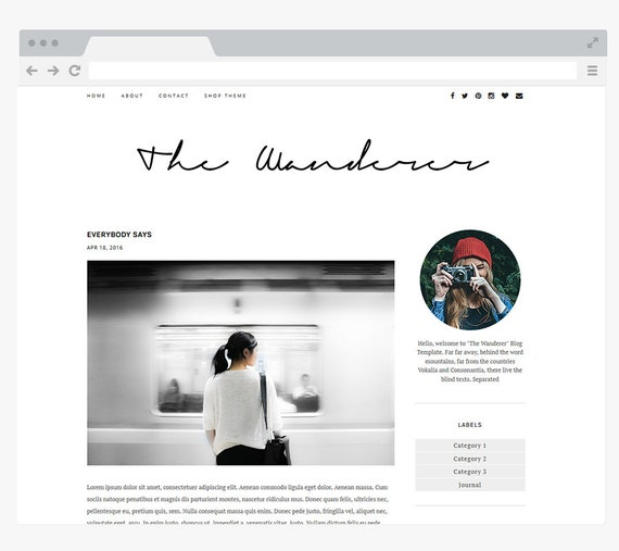 "NEW Premade Blogger Template Simple and Clean Blog Design - Interior Design Blog - Responsive Blogger Template - ""WANDERER"""