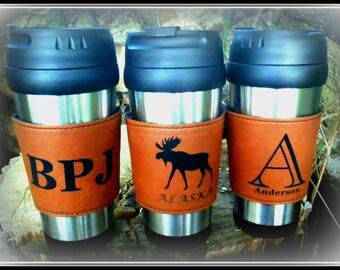 Leather Travel Mug Personalized Leather Coffee Mug Vegan Leather Custom Groomsmen Gift Personalized Coffee Mug Coffee Mug Custom Travel Mug