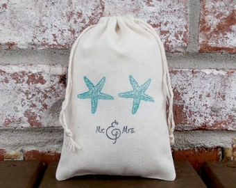 Mr. and Mrs. Starfish Favor Bag Hand Stamped Cotton Muslin 4x6 - Perfect for a Summer, Beach or Destination Wedding for Candy or Goodies