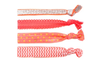 Coral Hair Ties | Set of 4