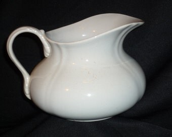 Antique Large French ironstone Water Pitcher by Choisy Le Roi 1800 s Jug / white Vase