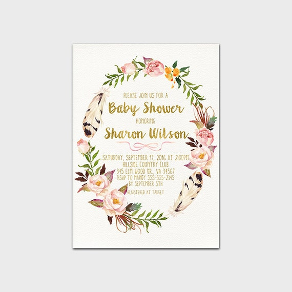 bohemian baby shower invitation boho floral wreath baby shower invite