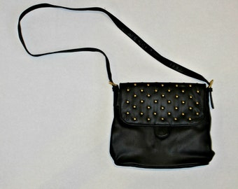Studded 80s Vintage Purse | Eighties Black Leather Studded Handbag With Gold Studs | Vintage Crossbody Bag