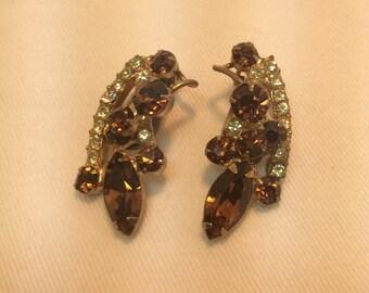 Gorgeous Topaz And Clear Rhinestone Earrings. Vintage Earrings.