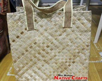Lauhala Shopping Bags with Sewn Jute Handle wholesale, Kete bags