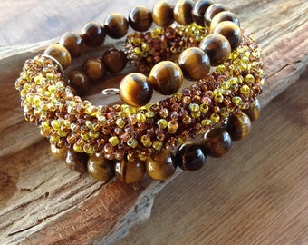 Crochet rope bracelet, tiger eye jewelry, memory wire bracelet, beaded bracelet, wrap bracelet, memory wire jewelry