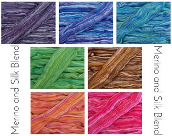 Merino Wool & Silk Fibre Blend - 7 inspirational colourways, for felting and spinning