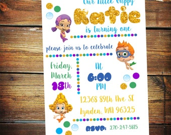 Bubble Guppies Invitation, Bubble Guppies Birthday Invite, Bubble Guppies Invite, Bubble Guppies Birthday, Second Birthday Invite, Bday Card