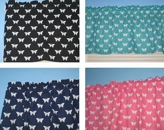 White Butterflies on Navy Turquoise Pink Black Window Cotton Curtain Valance