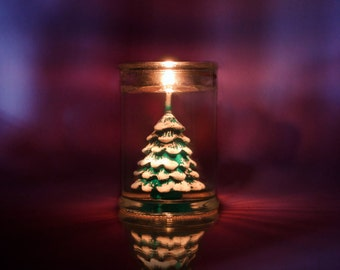 Christmas tree in jar candle