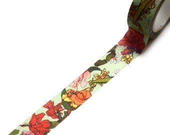 WASHI SAMPLE 2 cm wide chinese flowers in strong colors on light green background