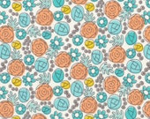 """CLOUD 9 Grey Abby Collection """"Floral Whimsy - Egg Blue"""" Organic Quilter's Weight Fabric"""