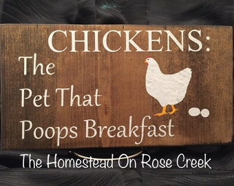 Chickens: The Pet That Poops Breakfast Wall Decor Hanging Sign