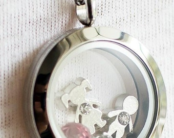 Family Necklace - 25mm pendant and 30 Inch Stainless Steel Chain - Keep the loved ones near your heart - Put figures and birthsones inside