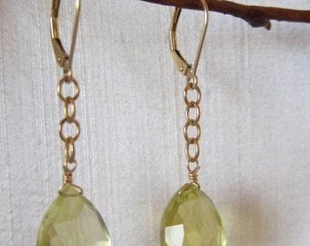 CLEARANCE SALE Lemon Quartz 14K Gold Filled Handmade Earrings