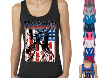 Freedom The Statue of Liberty Lady TANK TOP Patriotic Tattered Vintage USA Flag Women tee shirt American Flag Womens Tee Racerback Tank Top