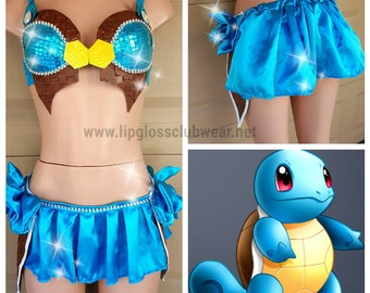 Pokemon Squirtle Costume, Women Squirtle Costume, Women Pokemon, Cosplay, Anime Costume, Animal Costume