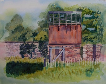 Old Building, Water Tower, Pen Detail, Pen and Wash, Landscape, 16 x 12 Inches, Countryside, Original Watercolour Painting, Ready to Frame