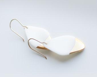 White Golden Porcelain Earring. Porcelain jewelry. Women's Gift Ideas.Porcelain Earrings. Ceramics Earrings. Minimalism. Wedding earrings