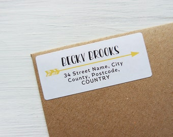 30 Custom Return Address Labels Arrow Personalized Address Stickers / 905