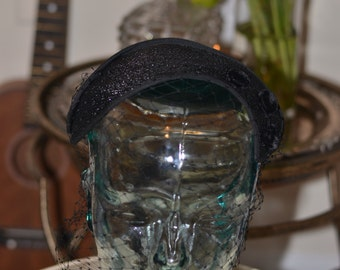 Vintage Estate A Gage Original Black Veil Velvet Button Half Hat