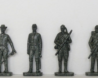 Set of 4 metal figurines of Confederate army (the South) in American Civil War, kinder surprise, vintage, collectibles, Ü-Ei Metallfiguren